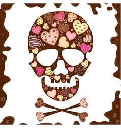 background with skull sweetmeat and chocolate vector image vector image