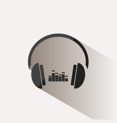 headphones with music icon on beige background vector image vector image
