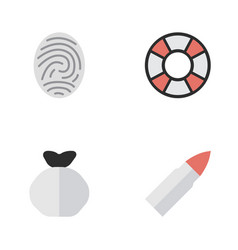set of simple criminal icons elements moneybox vector image