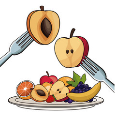 plate with fruits nutrition with fork and knife vector image