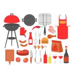 set of barbecue grilled food vector image