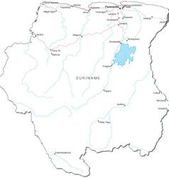 Suriname Black White Map vector image vector image
