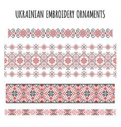 ukrainian embroidery ornaments set vector image vector image