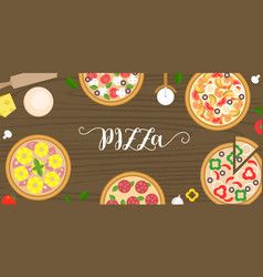 various type of pizza such as seafood vector image vector image
