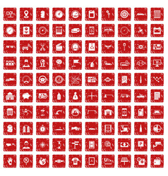 100 auto repair icons set grunge red vector image