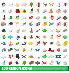 100 region icons set isometric 3d style vector