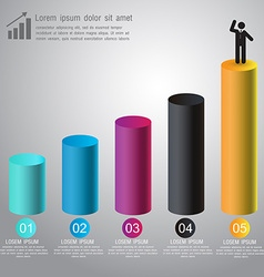 Abstract 3D digital graph infographic for business vector