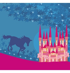 abstract image of a pink castle and unicorn vector image