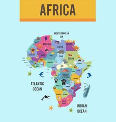 africa map animal flat design vector image