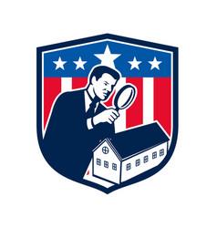 american school inspector usa flag icon retro vector image