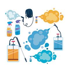 Antibacterial spray bottles with smokes vector
