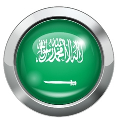 Arab Saudi flag metal button vector