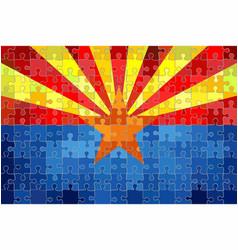 Arizona flag made puzzle background vector