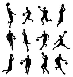 basketballl player silhouettes vector image