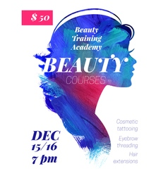 Beauty courses and training poster vector