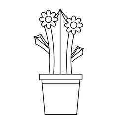 Blooming cactus in pot icon outline style vector