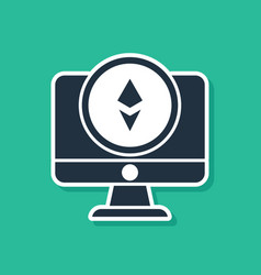 Blue monitor and cryptocurrency coin ethereum eth vector