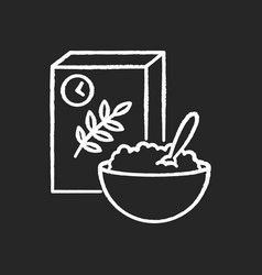 Breakfast and cereal chalk white icon on black vector