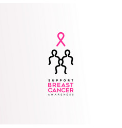 breast cancer care pink ribbon women text quote vector image