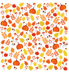 bright colorful autumnal pattern with leaves vector image