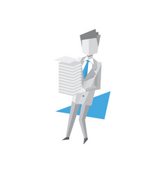 Businessman holding pile of office papers and vector