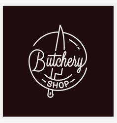 butchery lettering logo round linear knife vector image