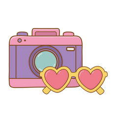 camera and heart sunglasses vector image