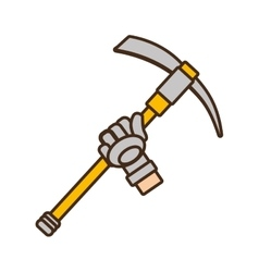 cartoon pickaxe tool mining extraction glove vector image