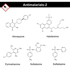 Chemical structures of main antimalarial drugs vector