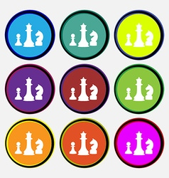 Chess game icon sign nine multi colored round vector