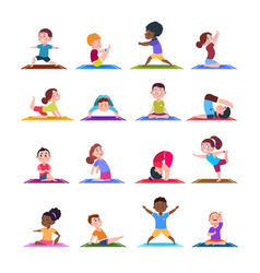 Children in yoga poses cartoon fitness kids in vector