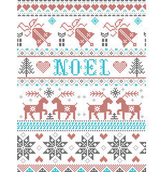 Christmas pattern noel scandinavian style stitched vector