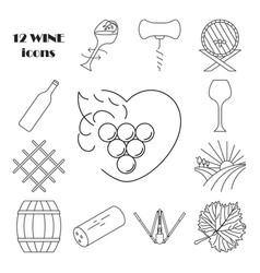 Collection of wine icons vector