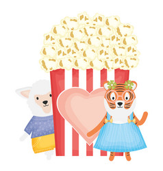 Cute female tiger and sheep with pop corn vector