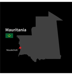 Detailed map of Mauritania and capital city vector