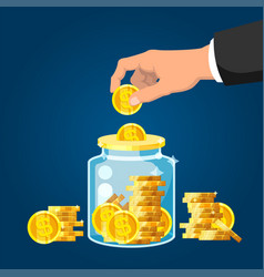 donate money man hand putting golden coin vector image