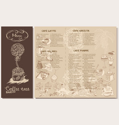 Doodle coffee restaurant menu template vector
