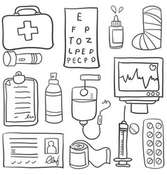 Doodle of medical object various vector