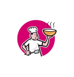 Fat Chef Cook Holding Bowl Oval Cartoon vector image