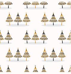 Festive christmas trees star pattern hand drawn vector