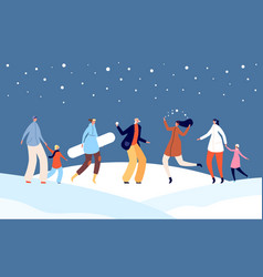 festive winter people happy holiday christmas vector image