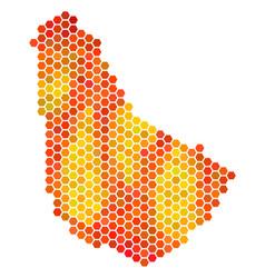 Fired hexagon barbados map vector