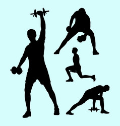Fitness and weight lifting sport silhouettes vector