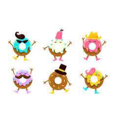 Funny donut scartoon characters set sweet vector