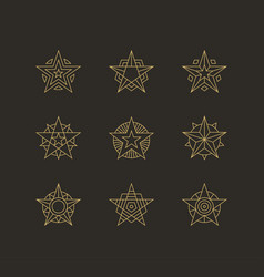 geometric star icons logos set vector image