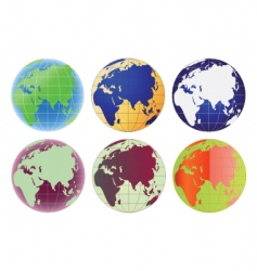globe europe and asia set vector image