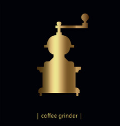 Gold coffee grinder vector