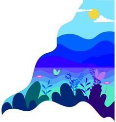 green hill landscape panorama field landscape vector image