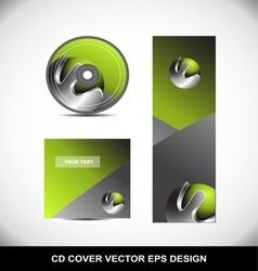 Green metal sphere cd dvd cover design vector