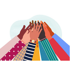 Hands diverse group people together raised vector